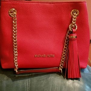 Michael Kors red gold chain purse with tassel